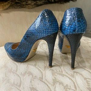 PRADA Authentic blue snakeskin heels